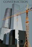 Ουρανοξύστες και γερανός Στοκ Εικόνες