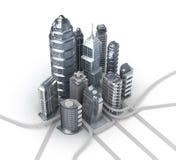 Ουρανοξύστες και magistrals. Πόλη χρωμίου διανυσματική απεικόνιση