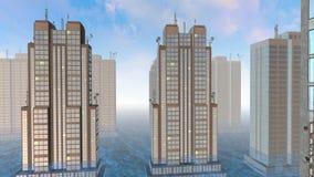 Ουρανοξύστες πέρα από το νησί τσιμέντου στο φως της ημέρας με την πλημμύρα διανυσματική απεικόνιση