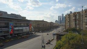Ουρανοξύστες πόλεων της Μόσχας, εναέρια άποψη Εμπορικό κέντρο γραφείων της πόλης της Μόσχας Πύργοι της πόλης της Μόσχας φιλμ μικρού μήκους