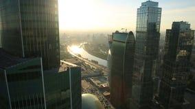 Ουρανοξύστες πόλεων της Μόσχας απόθεμα βίντεο