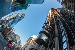 Ουρανοξύστες στην πόλη του Λονδίνου Στοκ Εικόνες