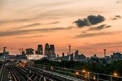 Ουρανοξύστες στο Λονδίνο στο ηλιοβασίλεμα Στοκ Εικόνες