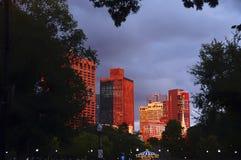 Ουρανοξύστες της Βοστώνης στο κόκκινο φως ηλιοβασιλέματος Στοκ φωτογραφίες με δικαίωμα ελεύθερης χρήσης