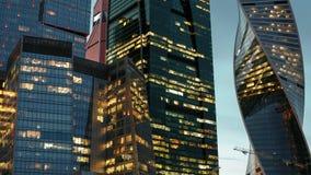 Ουρανοξύστες της πόλης της Μόσχας hyperlapse απόθεμα βίντεο