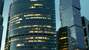 Ουρανοξύστες της πόλης της Μόσχας hyperlapse φιλμ μικρού μήκους