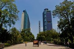 Ουρανοξύστες της Πόλης του Μεξικού από το πάρκο chapultepec Στοκ εικόνα με δικαίωμα ελεύθερης χρήσης