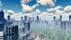 Ουρανοξύστες του μεγάλου πανοράματος πόλεων 4K διανυσματική απεικόνιση