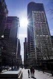 Ουρανοξύστες του Σικάγου με τον ήλιο Στοκ Φωτογραφία