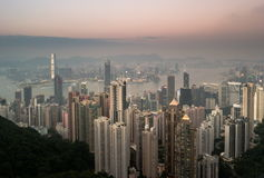 Ουρανοξύστες του Χονγκ Κονγκ στην Κίνα, Ασία στοκ εικόνα