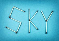 ΟΥΡΑΝΟΣ λέξης φιαγμένος από matchsticks Στοκ Εικόνες
