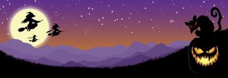 Ουρανός αποκριών Witchy με τη γάτα κολοκύθας Απεικόνιση αποθεμάτων