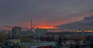 Ουρανός βραδιού πέρα από τη Μόσχα 1 Στοκ Εικόνα