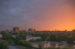 Ουρανός βραδιού πέρα από τη Μόσχα 2 Στοκ φωτογραφία με δικαίωμα ελεύθερης χρήσης