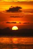 Ουρανός ηλιοβασιλέματος Songkhla στη λίμνη, Ταϊλάνδη. στοκ φωτογραφίες με δικαίωμα ελεύθερης χρήσης