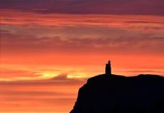 Ουρανός ηλιοβασιλέματος στο κεφάλι Brada, Isle of Man στοκ φωτογραφίες με δικαίωμα ελεύθερης χρήσης