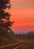 Ουρανός και σιδηρόδρομος φθινοπώρου Στοκ εικόνα με δικαίωμα ελεύθερης χρήσης