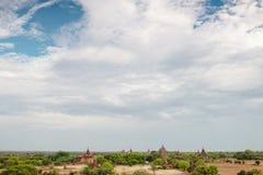 Ουρανός πέρα από το τοπίο Bagan στο Μιανμάρ Στοκ Φωτογραφία