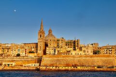 Ουρανός πανσελήνων της Μάλτας Valletta Στοκ Εικόνα