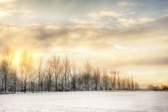 Ουρανός πυρκαγιάς πέρα από τους τομείς χιονιού στοκ εικόνα