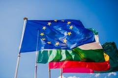 Ουρανός σημαιών της Ευρώπης διεθνής Στοκ εικόνες με δικαίωμα ελεύθερης χρήσης