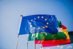Ουρανός σημαιών της Ευρώπης διεθνής Στοκ Φωτογραφία
