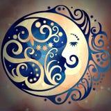 Ουρανός σχεδίων και φεγγάρι, χρωματισμένο σύμβολα υπόβαθρο Στοκ Φωτογραφία