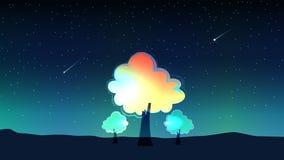 Ουρανός τη νύχτα και μετεωρίτης με τα δέντρα διανυσματική απεικόνιση