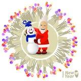 ουρανός santa του Klaus παγετού Χριστουγέννων καρτών τσαντών Άγιος Βασίλης και εύθυμος ελεύθερη απεικόνιση δικαιώματος