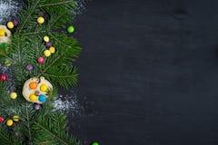 ουρανός santa του Klaus παγετού Χριστουγέννων καρτών τσαντών Διάστημα για το κείμενο Στοκ εικόνα με δικαίωμα ελεύθερης χρήσης