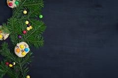 ουρανός santa του Klaus παγετού Χριστουγέννων καρτών τσαντών Διάστημα για το κείμενο Στοκ φωτογραφία με δικαίωμα ελεύθερης χρήσης