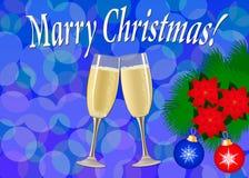 ουρανός santa του Klaus παγετού Χριστουγέννων καρτών τσαντών Δύο ποτήρια της σαμπάνιας, ένας κλάδος δέντρων με Chr διανυσματική απεικόνιση