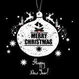 ουρανός santa του Klaus παγετού Χριστουγέννων καρτών τσαντών Με μια επιγραφή καλή χρονιά! Ζωηρόχρωμο INS ελεύθερη απεικόνιση δικαιώματος