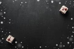 ουρανός santa του Klaus παγετού Χριστουγέννων καρτών τσαντών Με το διάστημα για ένα μήνυμα χαιρετισμού για τους αγαπημένους αυτού Στοκ φωτογραφίες με δικαίωμα ελεύθερης χρήσης