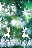 ουρανός santa του Klaus παγετού Χριστουγέννων καρτών τσαντών Στην πράσινη ανασκόπηση Στοκ φωτογραφία με δικαίωμα ελεύθερης χρήσης