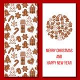 ουρανός santa του Klaus παγετού Χριστουγέννων καρτών τσαντών Τα άνετα Χριστούγεννα οι χαιρετισμοί Στοκ Φωτογραφίες