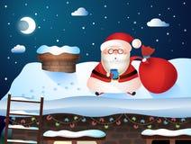 ουρανός santa του Klaus παγετού Χριστουγέννων καρτών τσαντών Το Santa φέρνει τα δώρα στα σπίτια τους Στοκ φωτογραφία με δικαίωμα ελεύθερης χρήσης