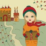 ουρανός santa του Klaus παγετού Χριστουγέννων καρτών τσαντών Στοκ εικόνες με δικαίωμα ελεύθερης χρήσης
