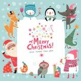 ουρανός santa του Klaus παγετού Χριστουγέννων καρτών τσαντών Στοκ Εικόνα