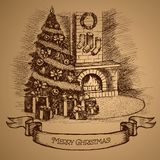 ουρανός santa του Klaus παγετού Χριστουγέννων καρτών τσαντών Χριστουγεννιάτικο δέντρο και εστία Διανυσματική απεικόνιση