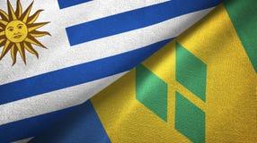 Ουρουγουάη και Άγιος Βικέντιος και Γρεναδίνες δύο υφαντικό ύφασμα σημαιών διανυσματική απεικόνιση