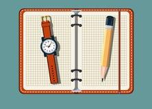 Ουσία γραφείων με το σημειωματάριο και το ρολόι Στοκ Εικόνα