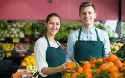 Ουσία στην ποδιά που πωλεί τα γλυκά πορτοκάλια, τα λεμόνια και tangerines Στοκ εικόνες με δικαίωμα ελεύθερης χρήσης