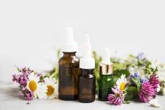 Ουσιαστικά πετρέλαια με τις ιατρικές εγκαταστάσεις και τα λουλούδια Στοκ Εικόνα