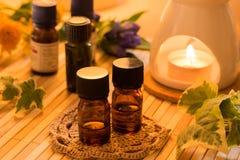 Ουσιαστικά πετρέλαια για τη aromatherapy επεξεργασία Στοκ Εικόνες