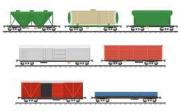 Ουσιαστικά τραίνα Συλλογή των αυτοκινήτων σιδηροδρόμων φορτίου Στοκ εικόνα με δικαίωμα ελεύθερης χρήσης