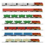 Ουσιαστικά τραίνα Συλλογή των αυτοκινήτων σιδηροδρόμων φορτίου Στοκ φωτογραφία με δικαίωμα ελεύθερης χρήσης