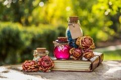 Ουσιαστικό πετρέλαιο, αρωματικά αλατισμένα και ξηρά λουλούδια Ουσιαστικός αυξήθηκε έλαιο και άλας αίσθημα της ειρηνικής καθορισμέ στοκ φωτογραφία