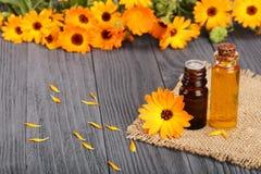 Ουσιαστικό πετρέλαιο Aromatherapy με τα φρέσκα marigold λουλούδια στο παλαιό ξύλινο υπόβαθρο Πετρέλαιο Calendula Στοκ Εικόνες