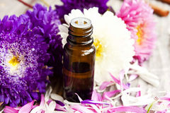 Ουσιαστικό πετρέλαιο και λουλούδια Στοκ εικόνες με δικαίωμα ελεύθερης χρήσης